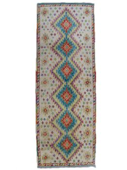 Handmade Afghan Quebec Gabbeh Colourful Short Rug Runner